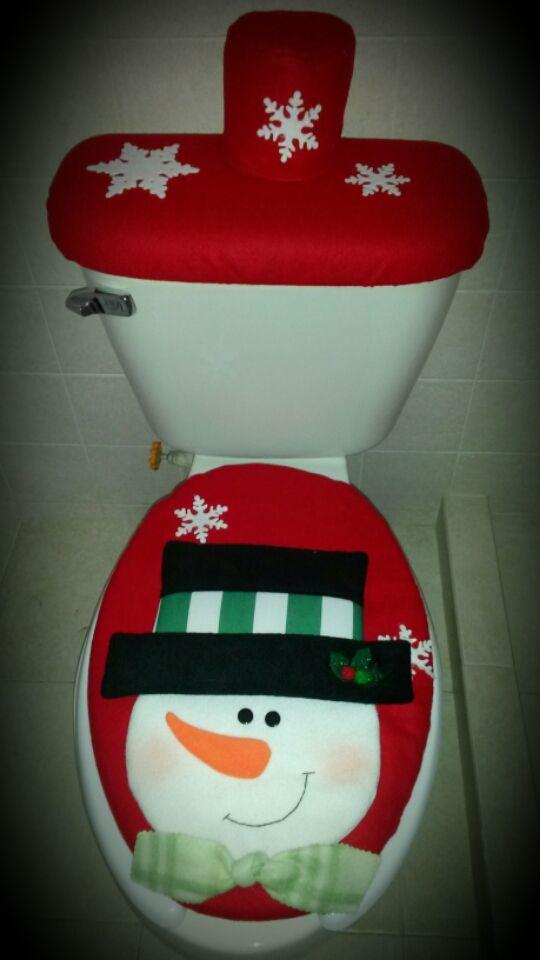 Set De Baño Navideno Manualidades:Juego de baño rojo muñeco de nieve Pedidos al 5538820030