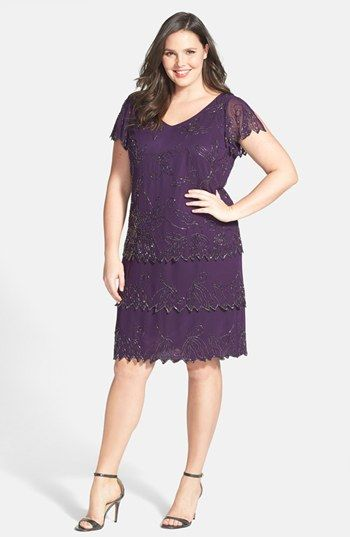 J Kara Beaded V-Neck Cocktail Dress (Plus Size) available at ...