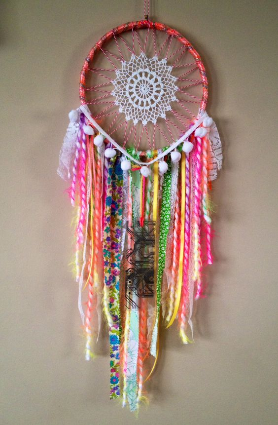 Moonlit lace dream catcher handmade up cycled reclaimed for Materials to make a dreamcatcher
