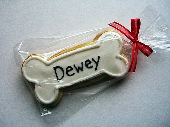 Cute dog bone cookie and packaging