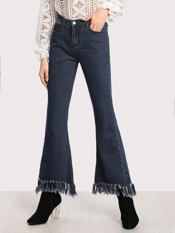 Frayed Hem Flare Jeans -SheIn(Sheinside)