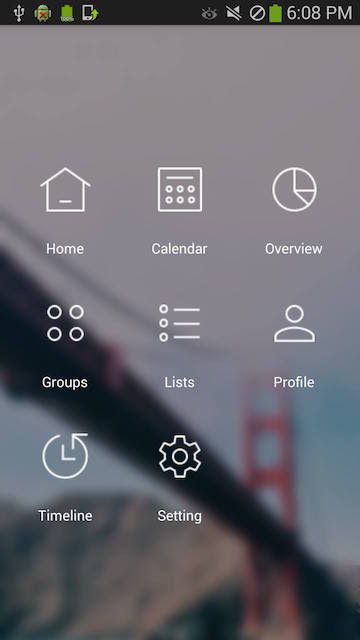 android blurred grid menu best practice and awesome android menu