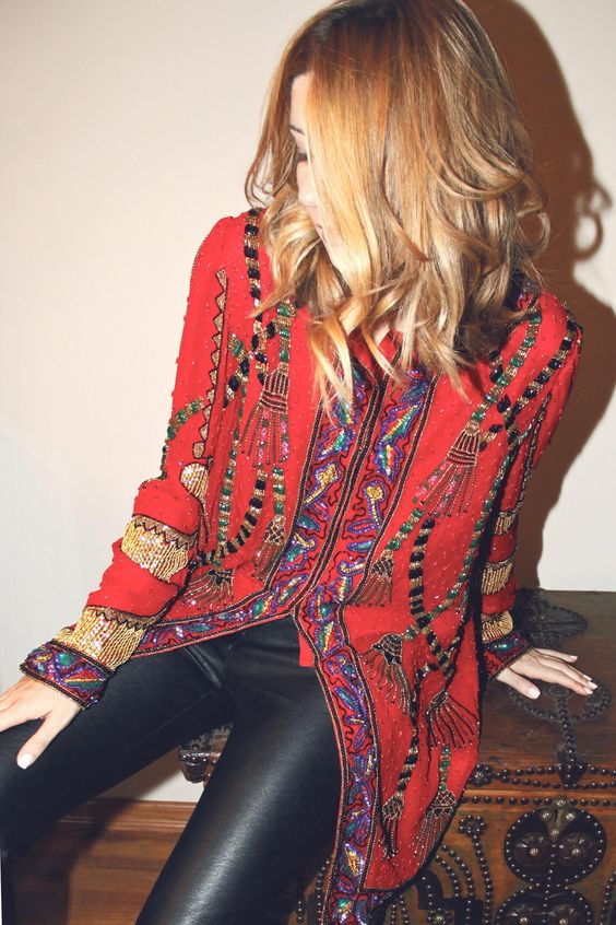 Bohemian embellished red coat + black leather pants. Edgy boho threads for the cooler weather.