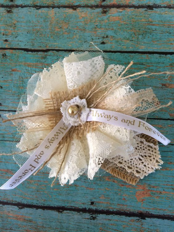 Ivory Lace Burlap Wedding Flowers/Mason Jar by DolledandDazzled