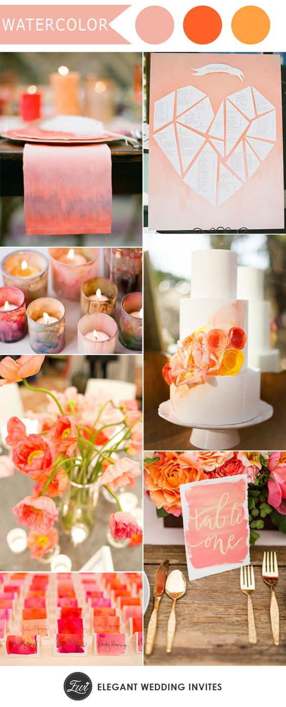Wedding theme ideas. I'm digging GBE candles and the heart. | Watercolor Wedding | Ten Trending Wedding Theme Ideas For 2017