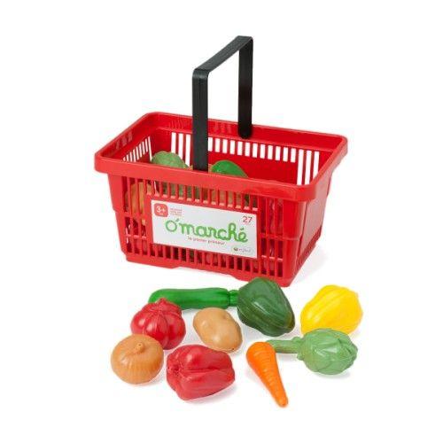 O'marché panier de légumes : 12.99 €. Ce panier rouge de supermarché contient 27 légumes. L'enfant les installe sur un étal de primeur et joue au marchand. Il peut aussi imaginer de les cuire pour préparer une soupe à ses poupées. Les histoires à inventer sont nombreuses.