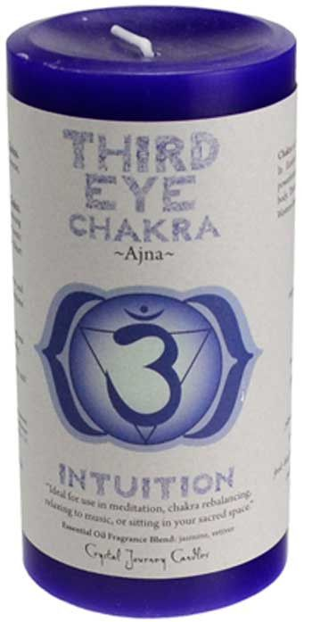 A vivid and brilliantly colored pillar from Crystal Journey Candles dedicated to the Third Eye Chakra. The removable paper label contains detailed information about the Third Eye Charka and its energy