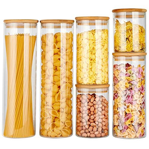 Food Storage Jars Containers With Airtight Bamboo Lids Kitchen Glass Canister C