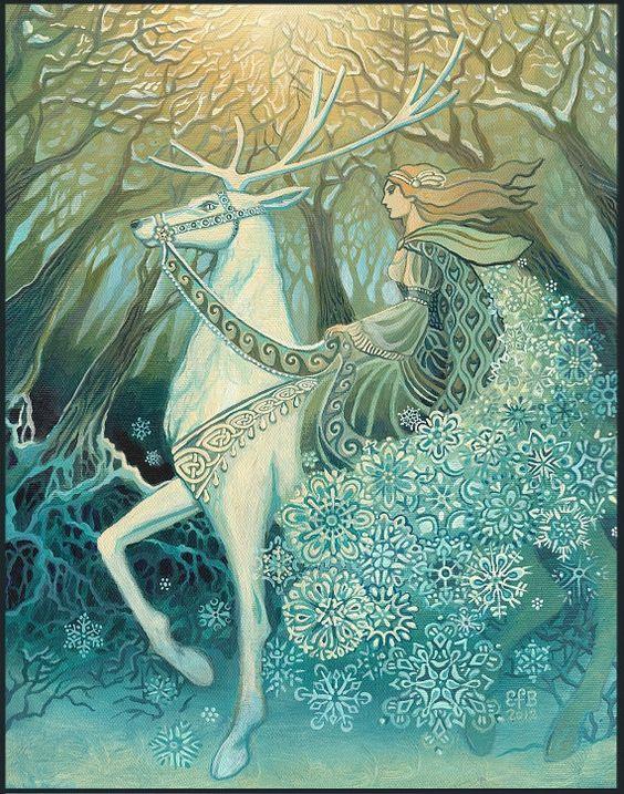 La Regina della neve 16 x 20 Poster stampa solstizio d'inverno dea