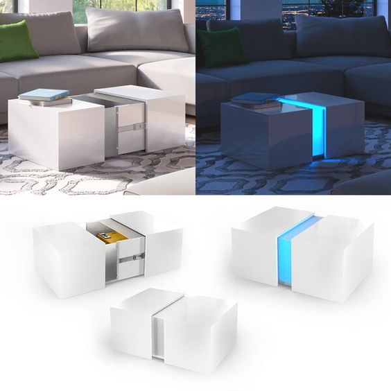 Design Couchtisch District Hochglanz Mit Led Beleuchtung Futuristische Mobel Couchtisch Led Beleuchtung
