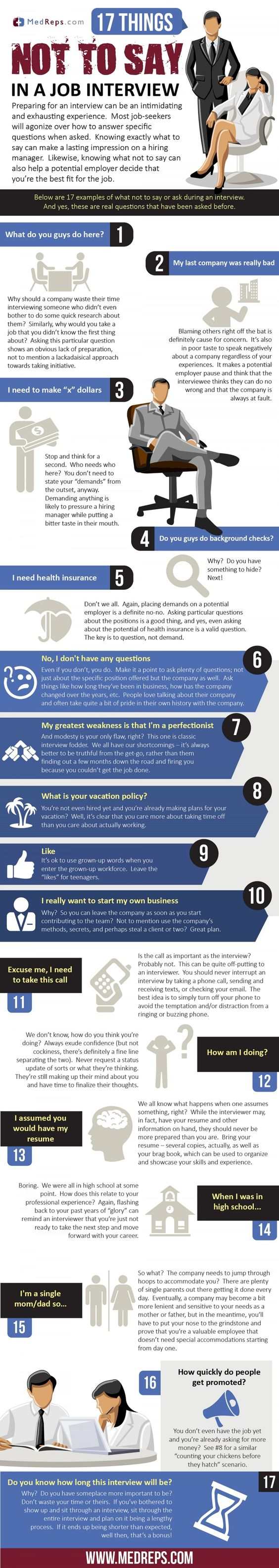 17 things not to say in a job interview infographic useful 2c7af5b2b22c7bc4c258fffd859bb2a0 jpg