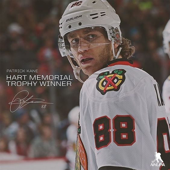 Patrick Kane takes home the Hart Trophy. (Photo via @nhlpa_official)