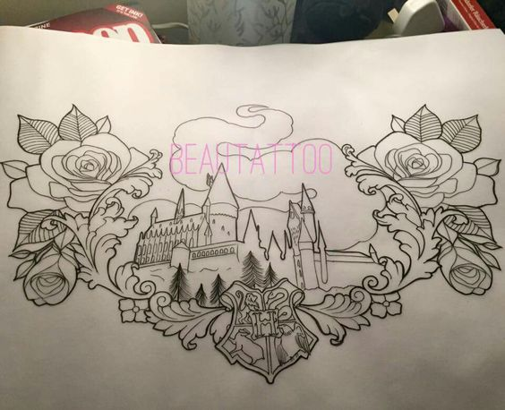 Hogwarts and roses tattoo