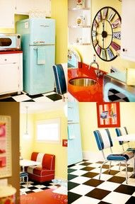 The basement is the place to go wild!  Retro 50s diner kitchenette, complete with turquoise appliances, black and white checkered floor, eating booth and red countertops!