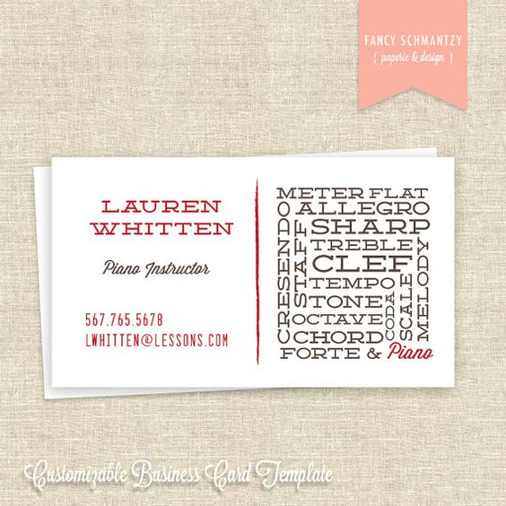 Piano teacher business card template business card for Teacher business cards templates free