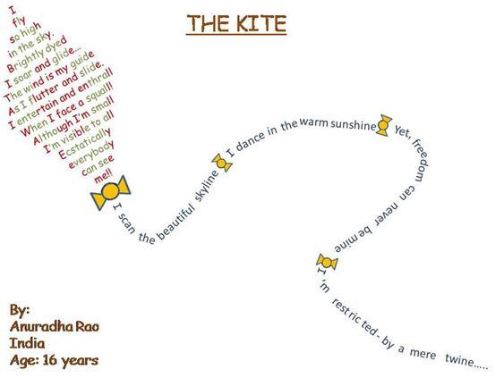 Famous Shape Poems   true shape poem in the shape of a kite