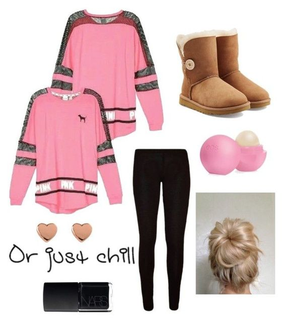 """""""Cute Tween/Teen Outfit!!"""" by sparklecat102 on Polyvore featuring Victoria's Secret, UGG Australia, NARS Cosmetics, Eos and Ted Baker"""