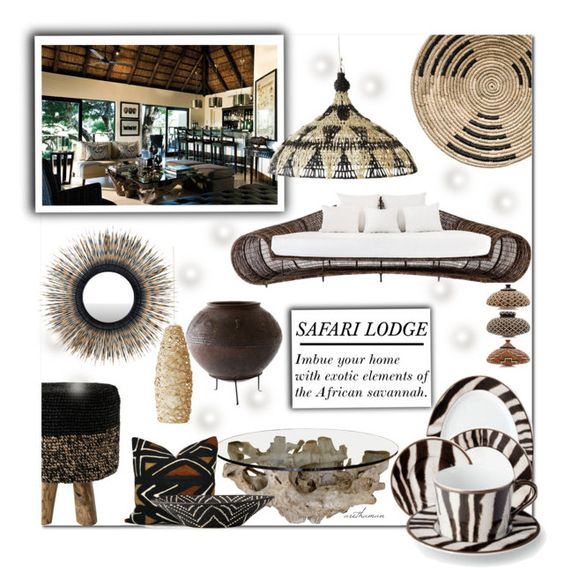 """""""Safari Lodge Decor Inspiration"""" by arethaman ❤ liked on Polyvore featuring interior, interiors, interior design, home, home decor, interior decorating and DAY Birger et Mikkelsen"""