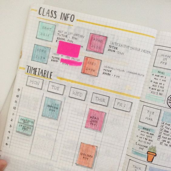"130316 ◦ my university bullet journal set up! a lovely anon asked if i could post up my set up so, here we go! ""to preface, this is a really simple layout which i had pre-set up during the holidays! i have things laid out so that i have enough space..."
