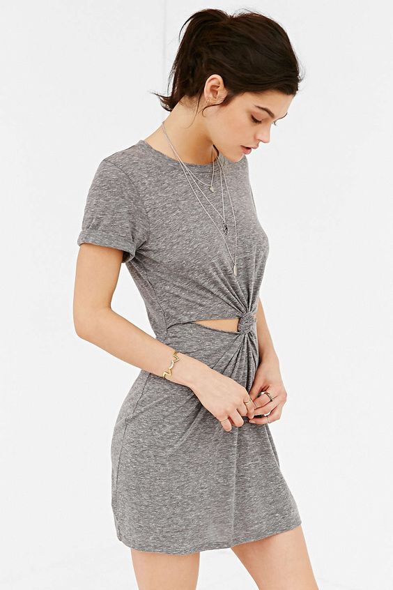 Honey Punch Knot-Front T-Shirt Dress