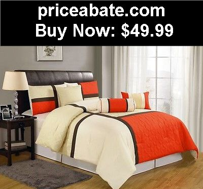 Bedding: 7pcs Orange Beige Brown Quilted Patchwork Bed in a Bag Comforter Set King Size - BUY IT NOW ONLY $49.99