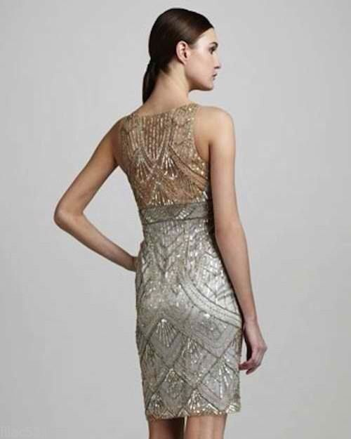 NWT SUE WONG Cocktail Beaded Sequin Dress Champagne & Silver ...
