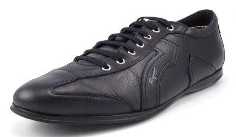 Ferragamo Mens Shoes Size 12 Mille 6 Leather Sneakers TZ13617 Black #distinctivedeals #mensfashion
