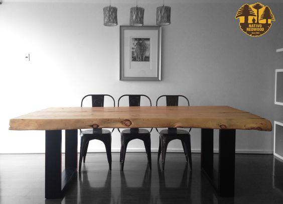 Nativo red wood mesa comedor con cubierta de madera de for Cubiertas para comedor