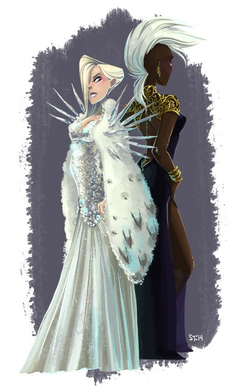 Emma Frost and Storm by Sara Talmadge.  Maybe the best Emma Frost outfit ever (added bonus: not porntastic)