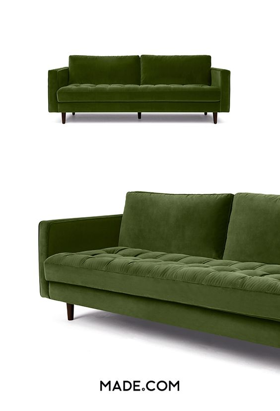 Ultimate comfort. Our Scott 3 seater sofa was made for lounging with a deep, sprung seat and feather-fibre mix cushioning. Scott blends a sleek silhouette with a buttoned seat cushion for a statement look. Upholstered in plush velvet for an additional layer of sophistication. We picture neutral-toned cushions complementing this style.