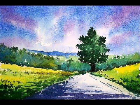 1200 Simple Watercolor Landscape Painting For Beginners Paint