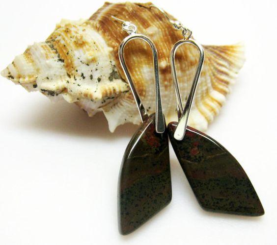 Olive Green Earrings  California Jasper by AVeryCoolEarringShop