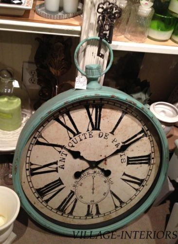 Large French Cottage Farmhouse Aqua Gallery Wall Clock Pocket