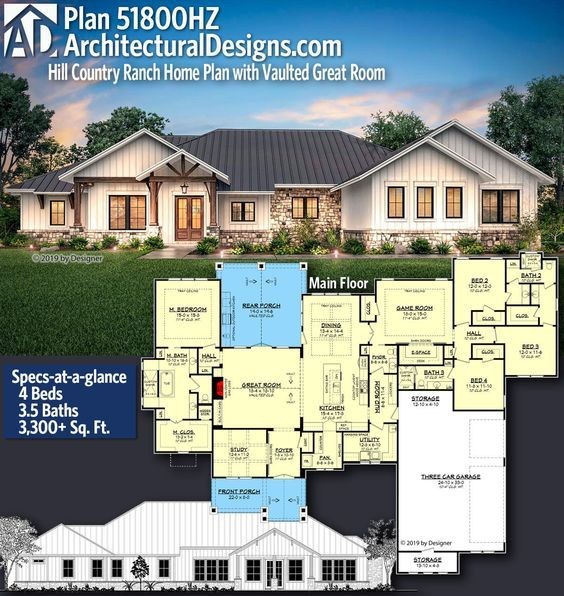 Plan 51800hz Hill Country Ranch Home Plan With Vaulted Great Room Ranch House Plans House Plans Farmhouse House Plans