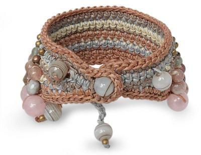 Rose Quartz and Pink Aventurine Beaded Bracelet - Bangkok Rose | NOVICA