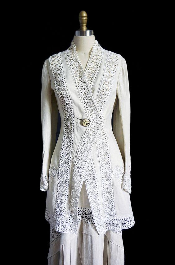 Edwardian Linen & Lace Walking Suit