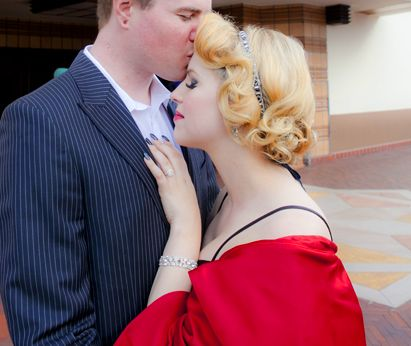 Gorgeous engagement shoot downtown Los  Angeles Gatsby bride. Stacy Lande makeup and hair/ Carol Sheridan photography