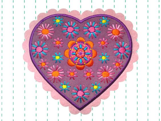 Iron on Patch Velvet Boho Heart Applique by twinklespatches, $6.35