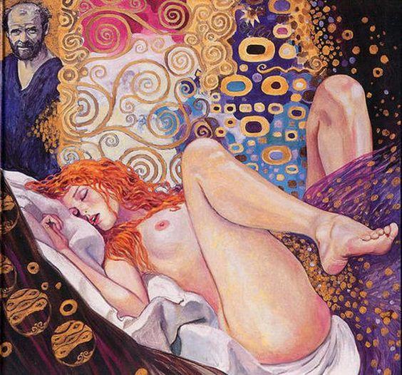 Painter And The Model by Gustav Klimt