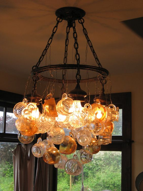 "Repurposed punch-cup chandelier. Adds intrigue and lovely light to any room. 36"" by 36"", and 50 lbs. $850."