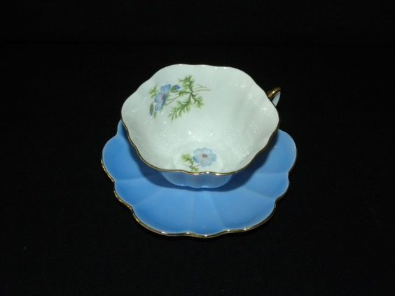 SHELLEY BONE CHINA BLUE POPPY STRATFORD CUP AND SAUCER FREE USA SHIPPING