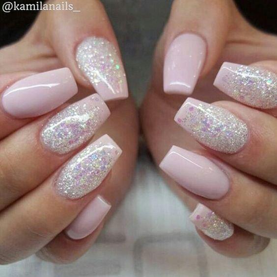 Pink And Blue Glitter Nail Polish: Pink & Glitter Nails