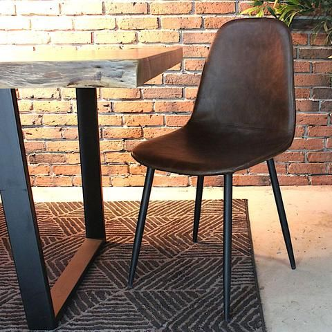 Milan Eames Style Brown Vintage Leather Dining Chair With Black