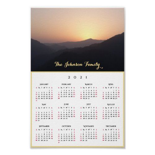 Sunrise Calendar 2021 Golden Sky Sunrise in the Mountains 2021 Calendar Poster | Zazzle