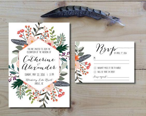 Druckbare Hochzeit Einladung Set Einladung von HeraPaperGoods
