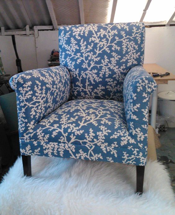 Lovely, small armchair covered in Romo Branches fabric.  This chair is sprung in the seat and back and has been traditionally upholstered.  Measurements: Height 78cm x width (at widest point across arms) 65cm x depth 62cm.For more images or any additional information please email me: hello@amywood.co.uk