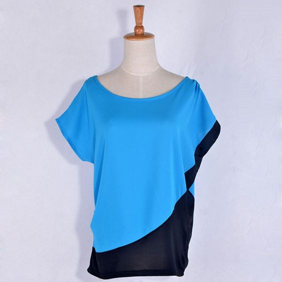 Women Fashion Tops Blouses 3 Solid Color Blue Red Orange O-Neck Short-sleeve Chiffon Shirt Female Women's Slim Clothing