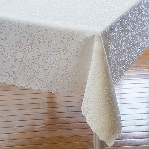 Turkish Ivory Tablecloth Polyester Table Linen Stain Resistant