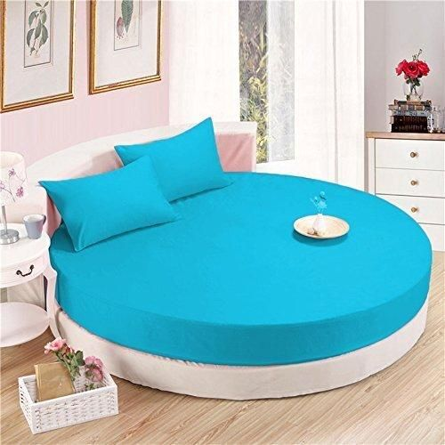 Turquoise Round Bed Sheets Set Comfy Solid Sateen Is Undoubtedly