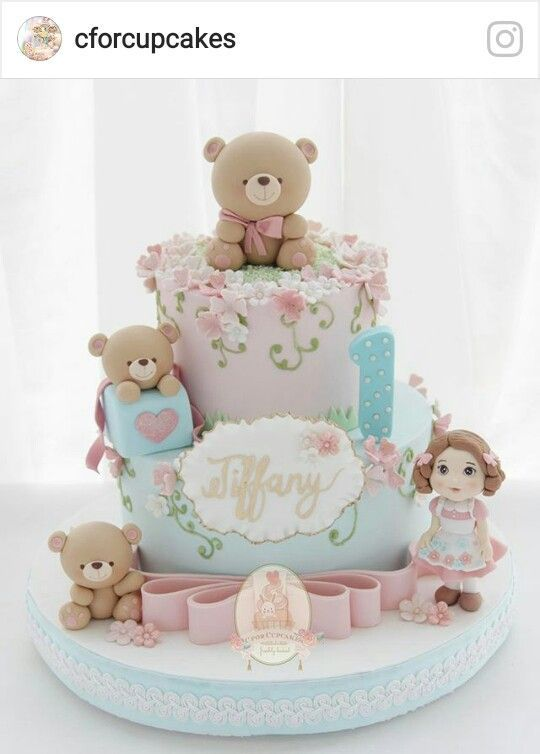 Dolls And Teddy Bear Cake For First Birthday Party Baby Shower